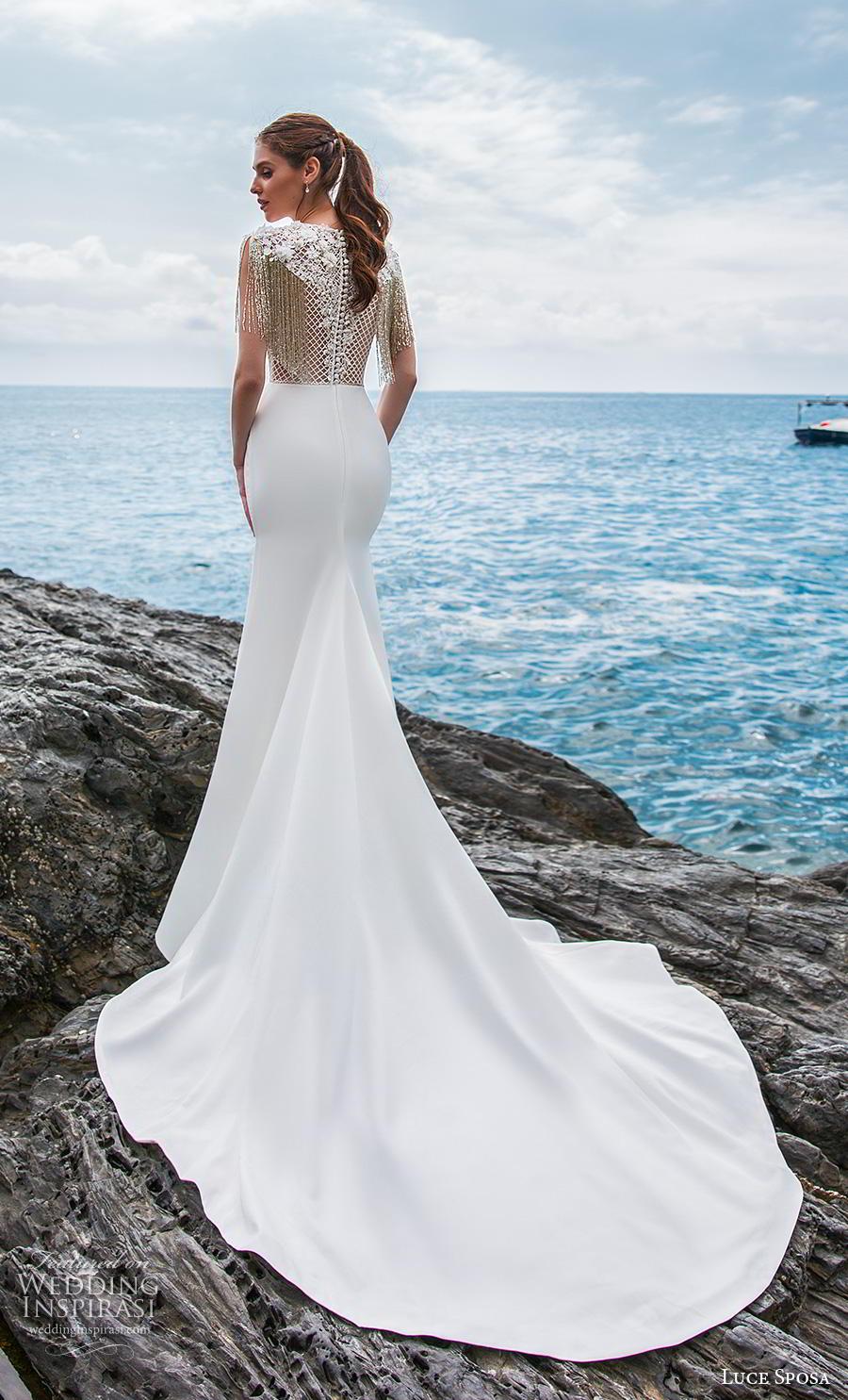 luce sposa 2019 bridal half sleeves jewel neck heavily embellished bodice glitzy elegant fit and flare wedding dress lace back chapel train (11) bv