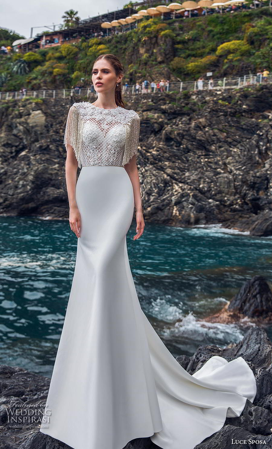 luce sposa 2019 bridal half sleeves jewel neck heavily embellished bodice glitzy elegant fit and flare wedding dress lace back chapel train (11) mv