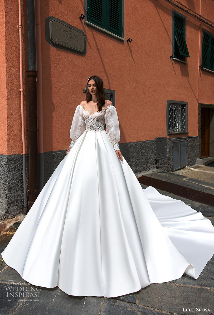 luce sposa 2019 bridal long bishop sleeves illusion off the shoulder sweetheart neckline heavily embellished bodice princess a  line wedding dress royal train (3) mv