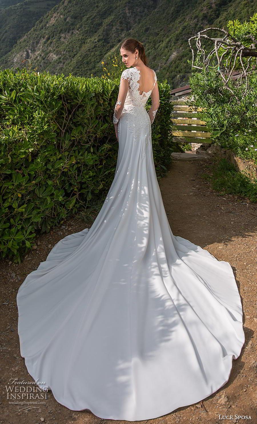 luce sposa 2019 bridal long sleeves illusion jewel heavily embellished bodice elegant modified a  line wedding dress backless chapel train (13) bv