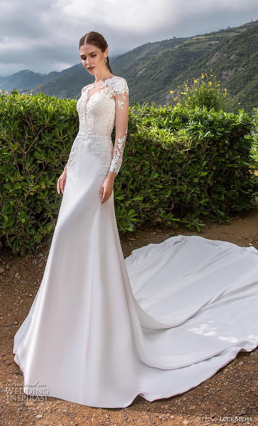 luce sposa 2019 bridal long sleeves illusion jewel heavily embellished bodice elegant modified a  line wedding dress backless chapel train (13) mv