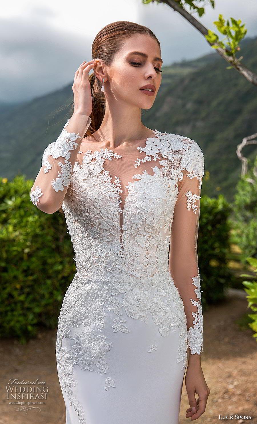 luce sposa 2019 bridal long sleeves illusion jewel heavily embellished bodice elegant modified a  line wedding dress backless chapel train (13) zv