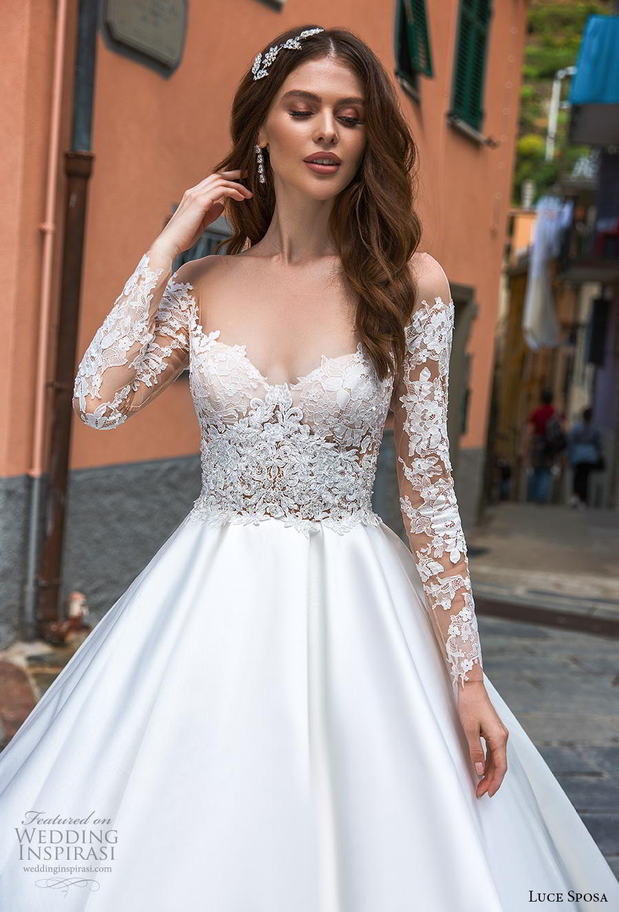 luce sposa 2019 bridal long sleeves illusion off the shoulder sweetheart neckline heavily embellished bodice princess a  line wedding dress royal train (3) zv
