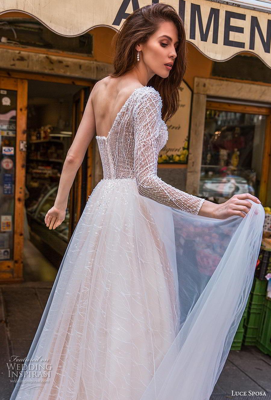 luce sposa 2019 bridal long sleeves one shoulder heavily embellished bodice romantic blush a  line wedding dress chapel train (9) bv