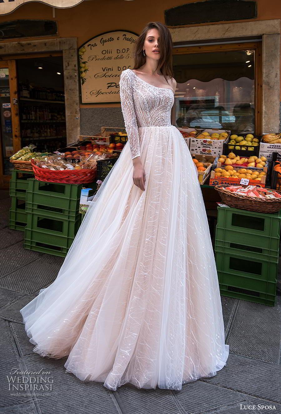 luce sposa 2019 bridal long sleeves one shoulder heavily embellished bodice romantic blush a  line wedding dress chapel train (9) mv