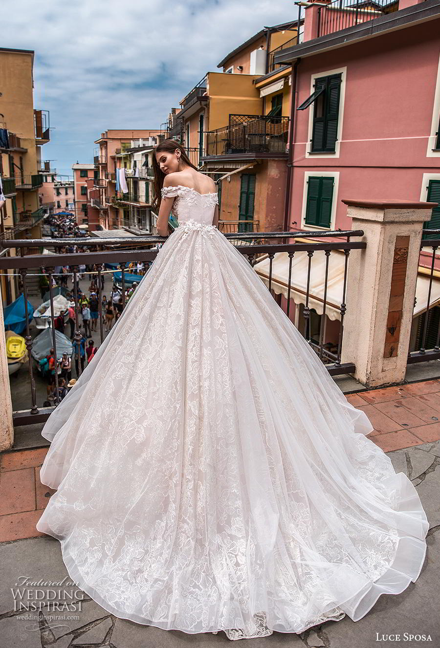 luce sposa 2019 bridal off the shoulder semi sweetheart neckline heavily embellished bodice romantic blush a  line wedding dress mid back chapel train (2) bv