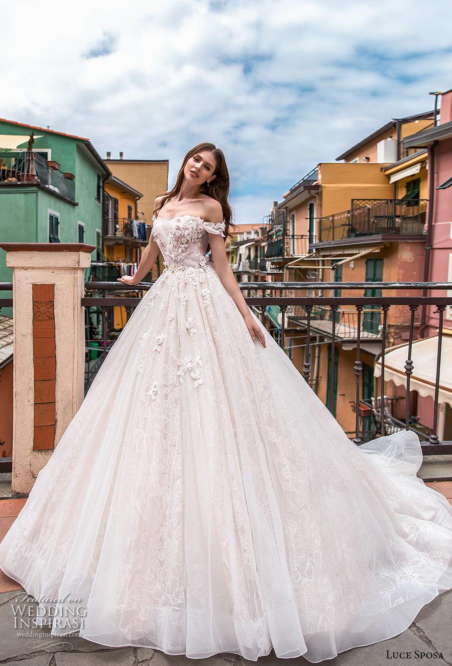 luce sposa 2019 bridal off the shoulder semi sweetheart neckline heavily embellished bodice romantic blush a  line wedding dress mid back chapel train (2) mv