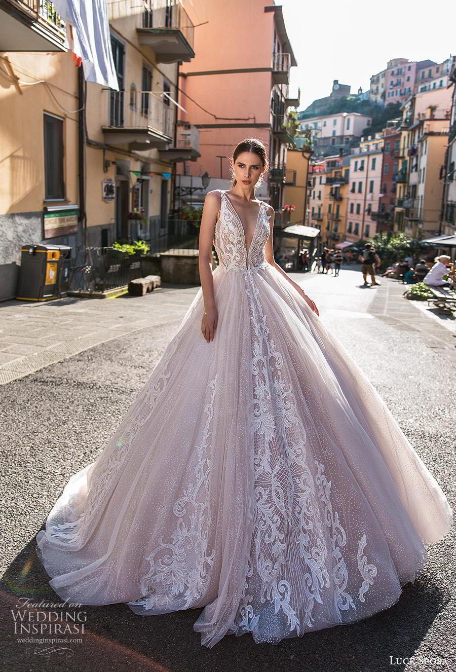 luce sposa 2019 bridal sleeveless deep v neck heavily embellised bodice romantic princess blush a  line wedding dress backless v back chapel train (4) mv