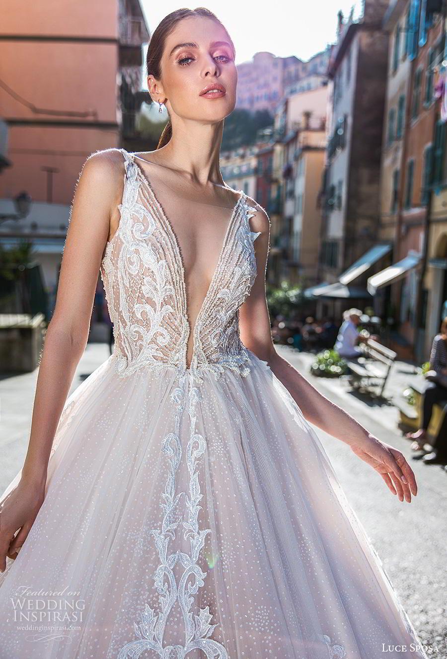 luce sposa 2019 bridal sleeveless deep v neck heavily embellised bodice romantic princess blush a  line wedding dress backless v back chapel train (4) zv