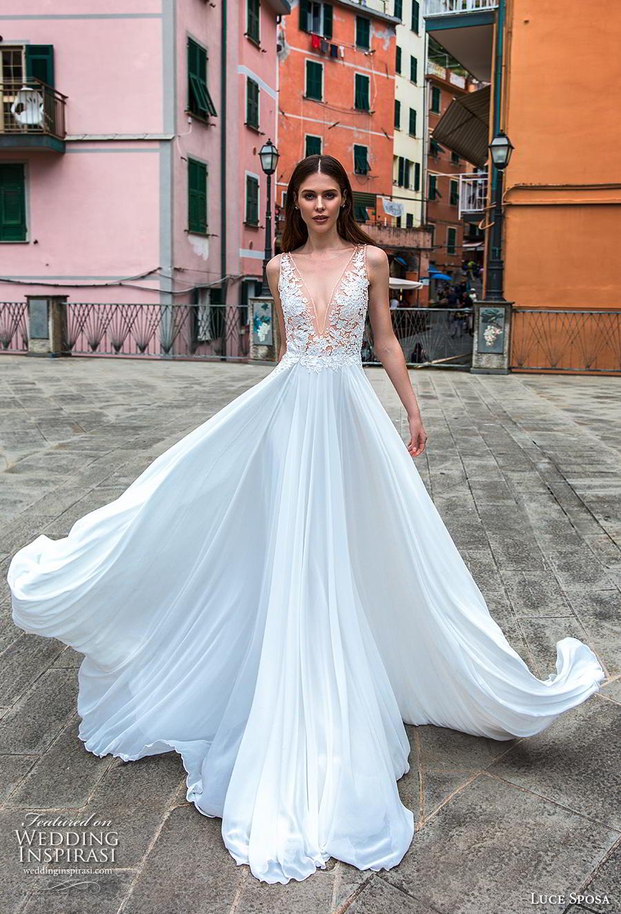 luce sposa 2019 bridal sleeveless deep v neck heavily embellished bodice romantic soft a  line wedding dress sheer lace back chapel train (11) mv