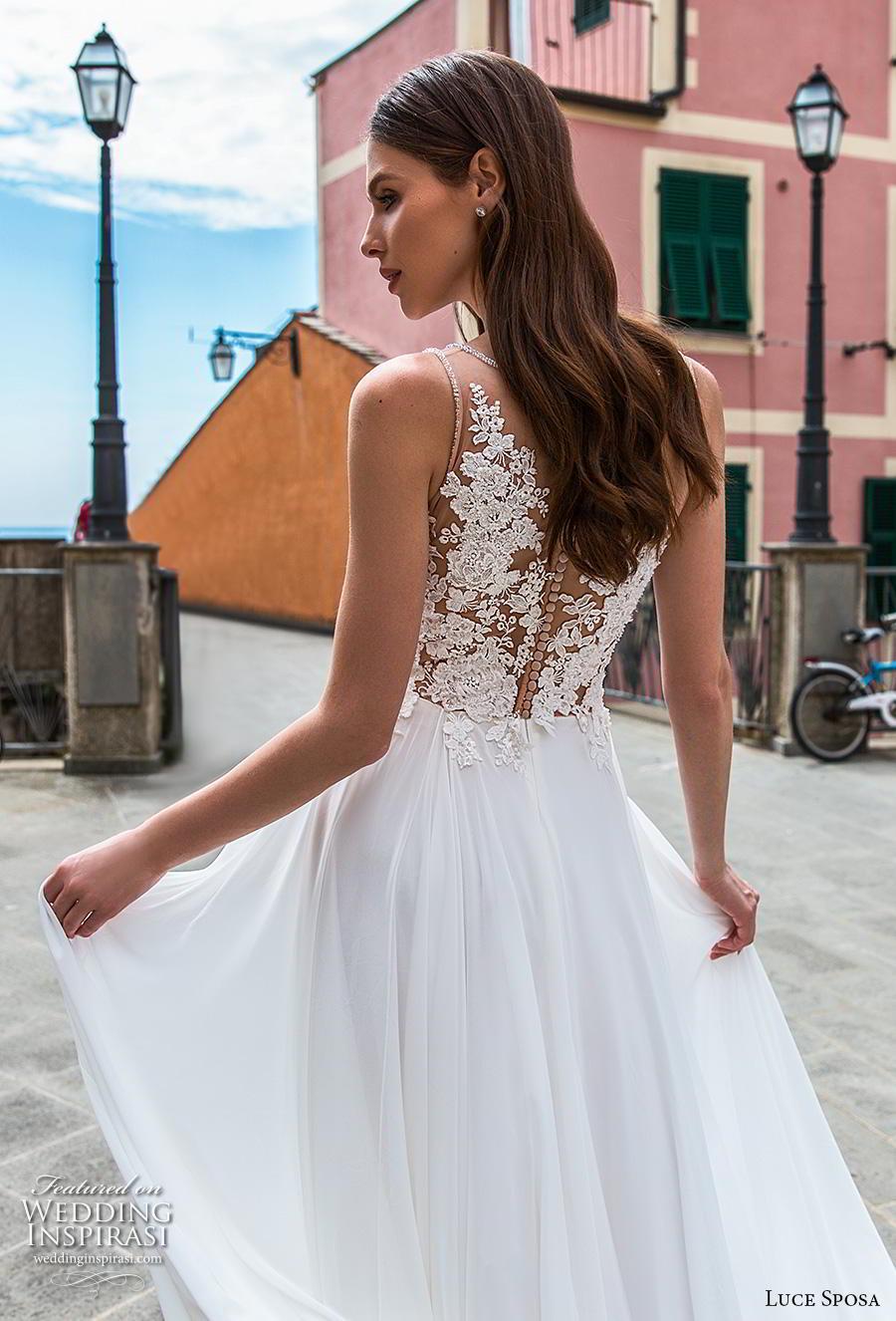 luce sposa 2019 bridal sleeveless deep v neck heavily embellished bodice romantic soft a  line wedding dress sheer lace back chapel train (11) zbv
