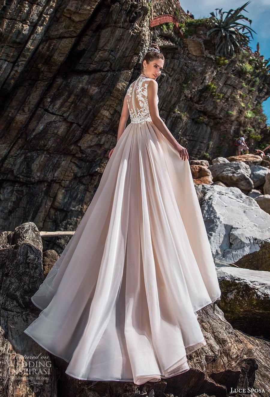 luce sposa 2019 bridal sleeveless high neck full embellishment elegant glamorous pink sheath wedding dress a  line overskirt sheer slace back chapel train (9) bv
