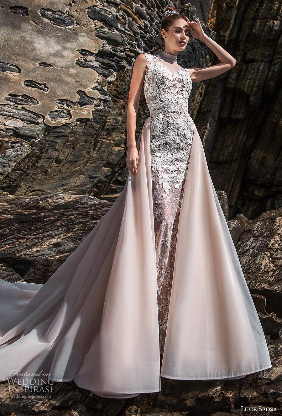 luce sposa 2019 bridal sleeveless high neck full embellishment elegant glamorous pink sheath wedding dress a  line overskirt sheer slace back chapel train (9) mv