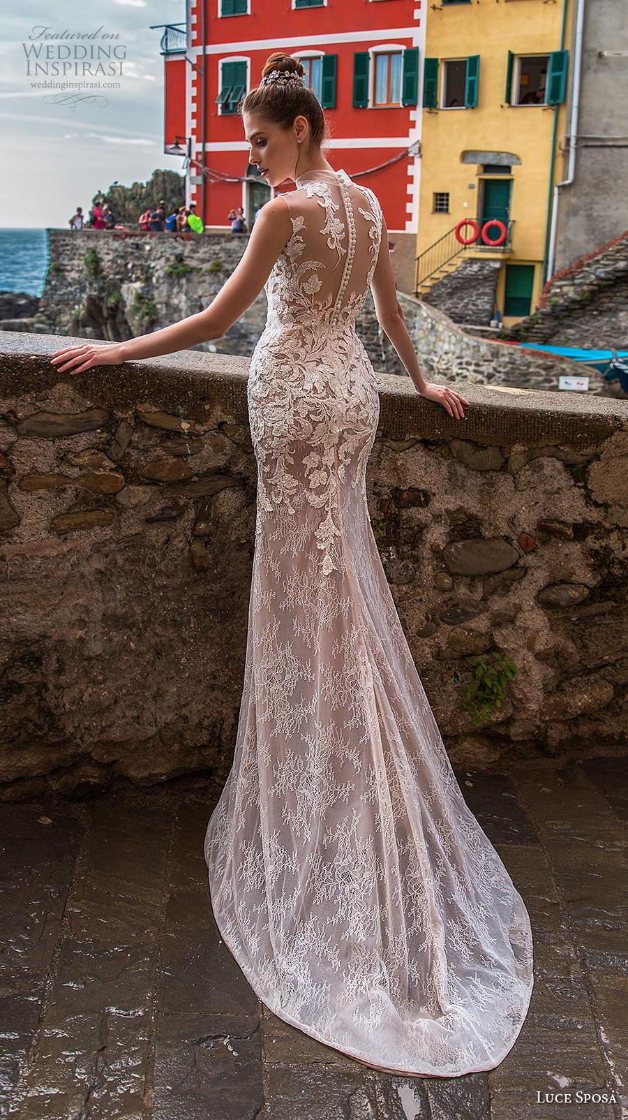 luce sposa 2019 bridal sleeveless high neck full embellishment elegant glamorous pink sheath wedding dress sheer slace back chapel train (9) bv