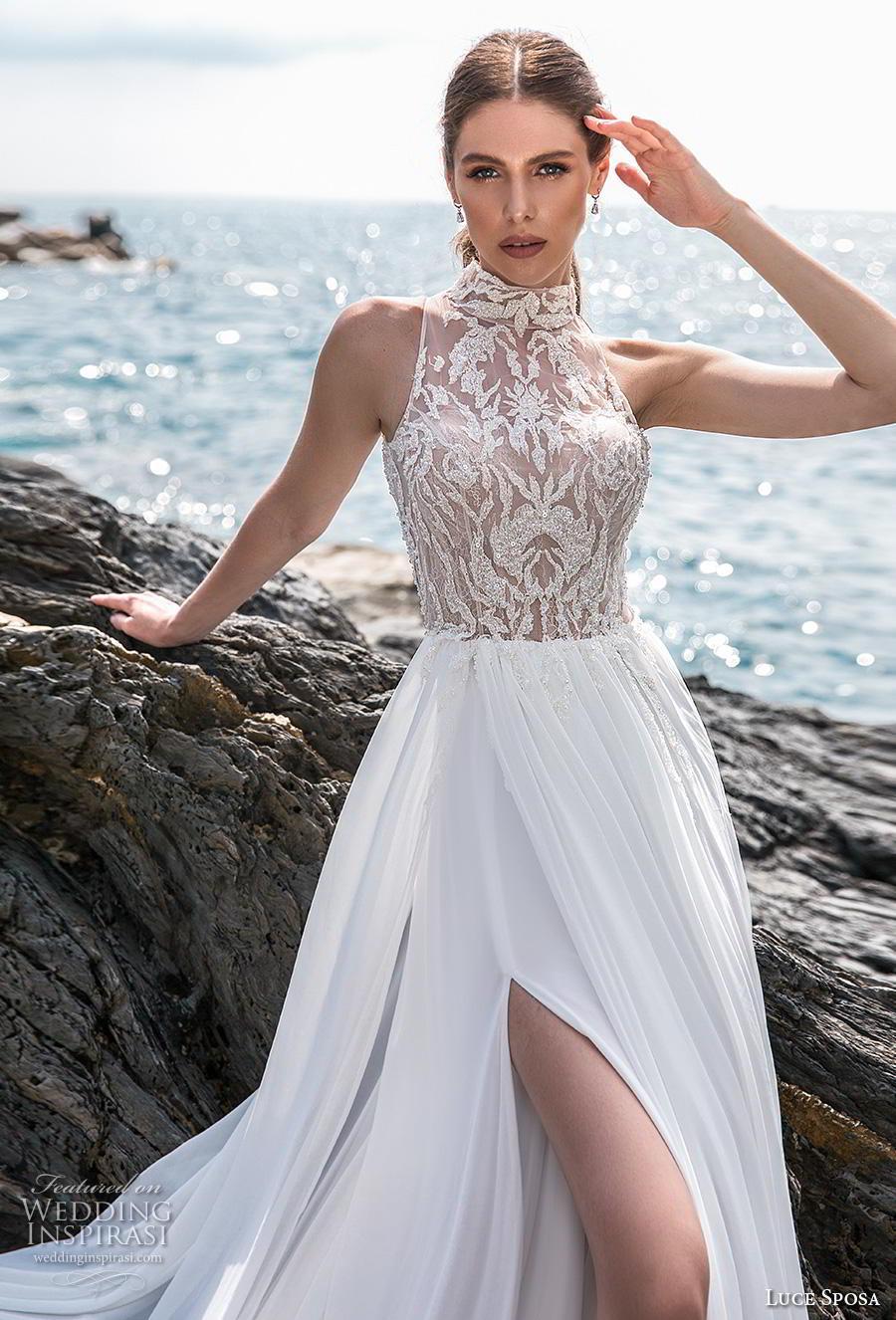 luce sposa 2019 bridal sleeveless high neck heavily embellished bodice slit skirt glamorous sexy soft a  line wedding dress lace back chapel train (12) zv mv