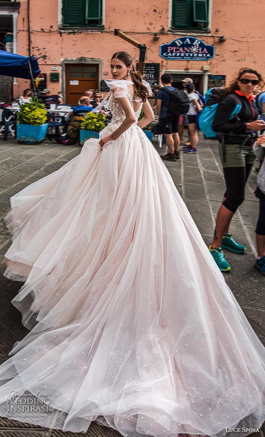 luce sposa 2019 bridal sleeveless ribbon strap v neck heavily embellished bodice romantic blush a  line wedding dress v back chapel train (1) bv