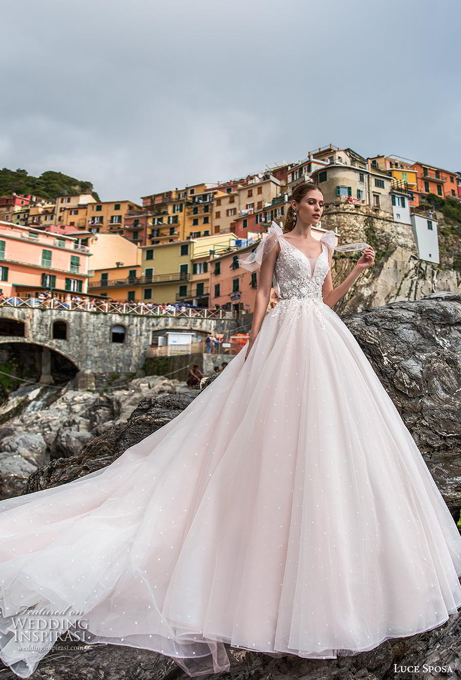 luce sposa 2019 bridal sleeveless ribbon strap v neck heavily embellished bodice romantic blush a  line wedding dress v back chapel train (1) mv