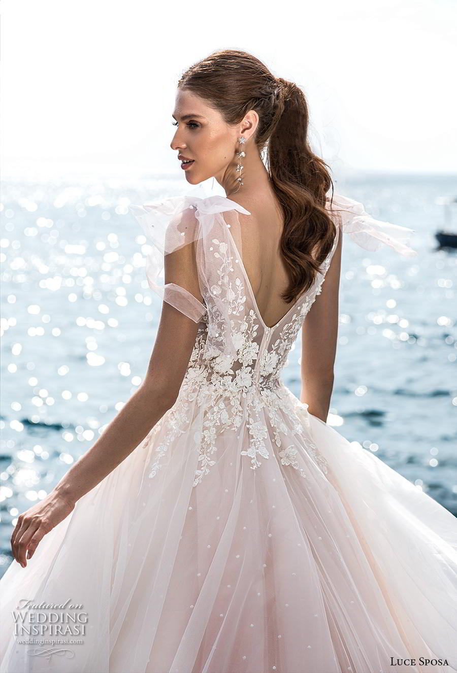 luce sposa 2019 bridal sleeveless ribbon strap v neck heavily embellished bodice romantic blush a  line wedding dress v back chapel train (1) zbv
