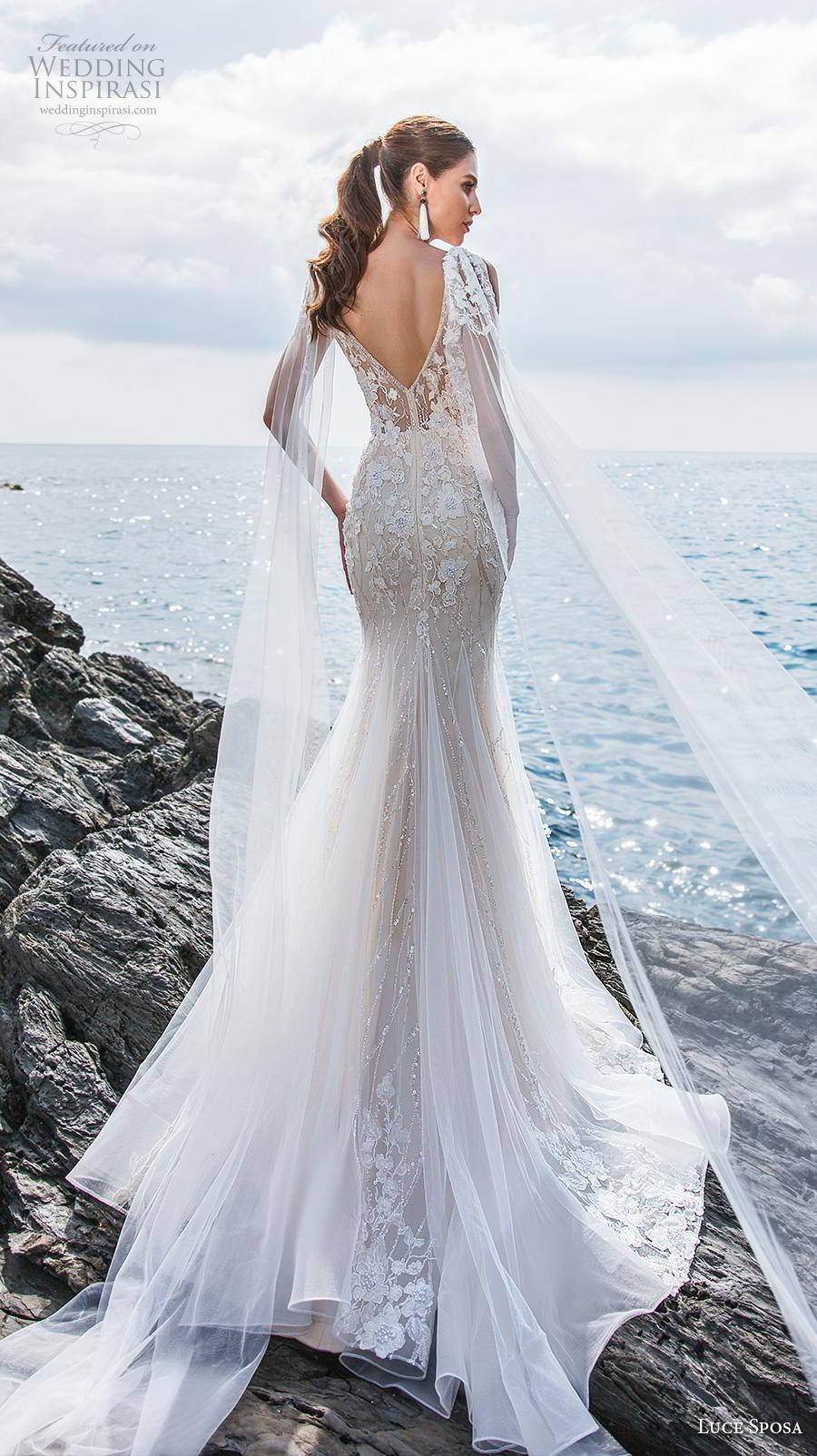 luce sposa 2019 bridal sleeveless thin strap deep plunging sweetheart neckline heavily embellished bodice elegant fit and flare wedding dress backless v back medium train (2) bv