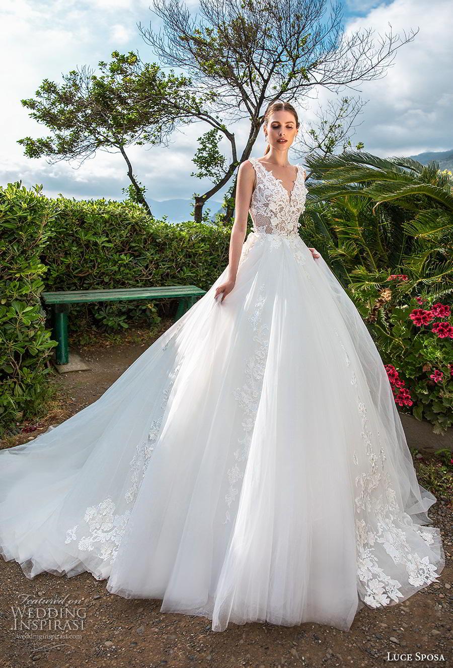 luce sposa 2019 bridal sleeveless v neck heavily embellished bodice romantic ball gown a  line wedding dress backless v back chapel train (14) mv