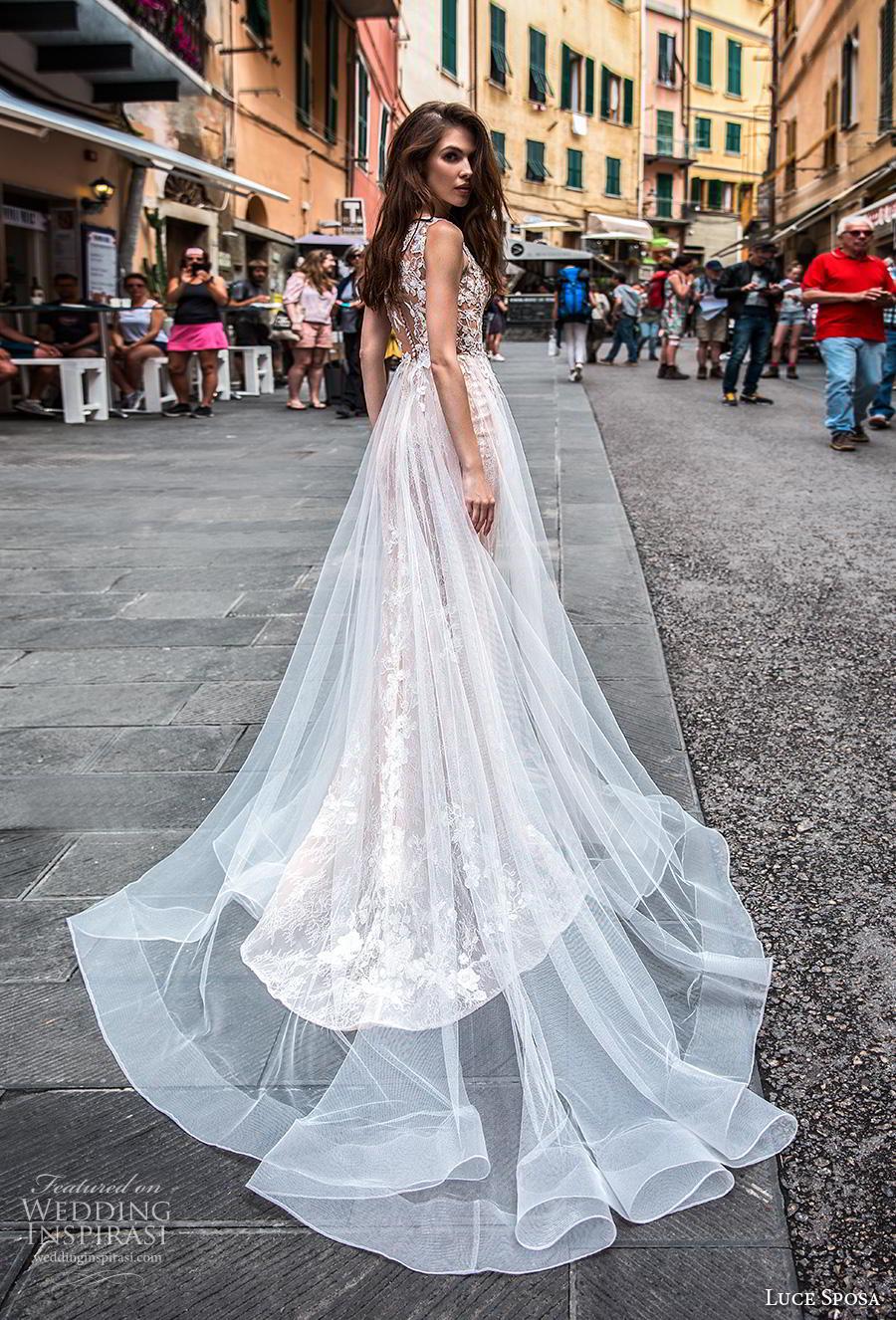 luce sposa 2019 bridal sleeveless with strap v neck full embellishment elegant romantic fit and flare wedding dress a  line overskirt sheer button back chapel train (6) bv