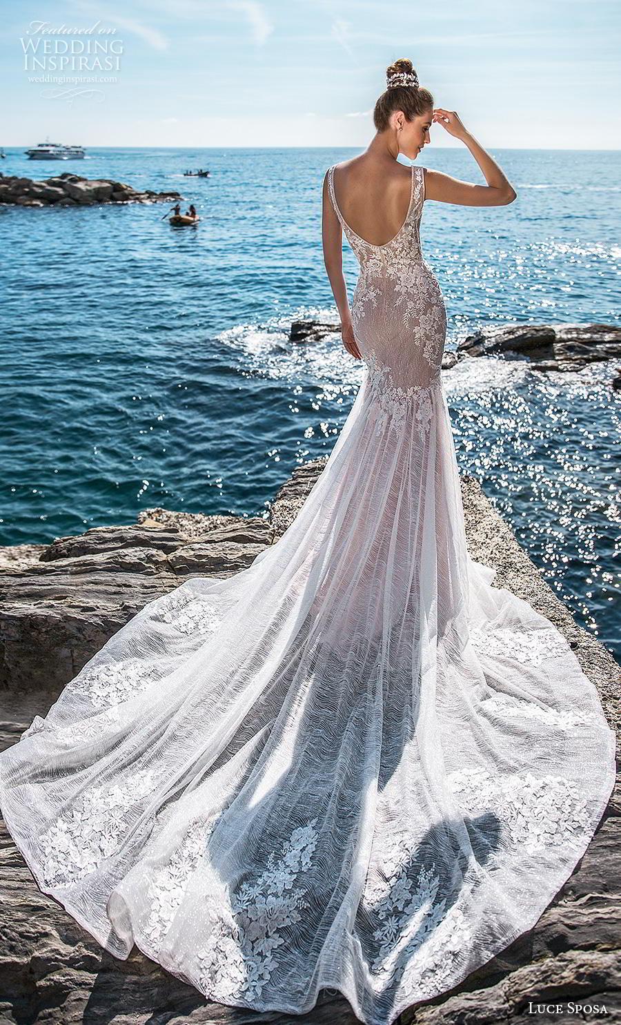 luce sposa 2019 bridal sleevess v neck heavily embellished bodice elegant trumpet mermaid wedding dress backless scoop back chapel train (5) bv