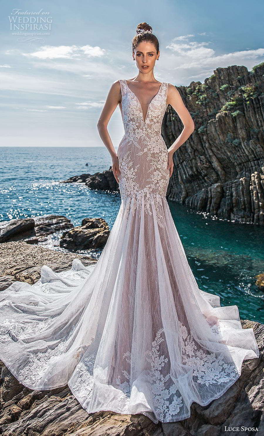 luce sposa 2019 bridal sleevess v neck heavily embellished bodice elegant trumpet mermaid wedding dress backless scoop back chapel train (5) mv