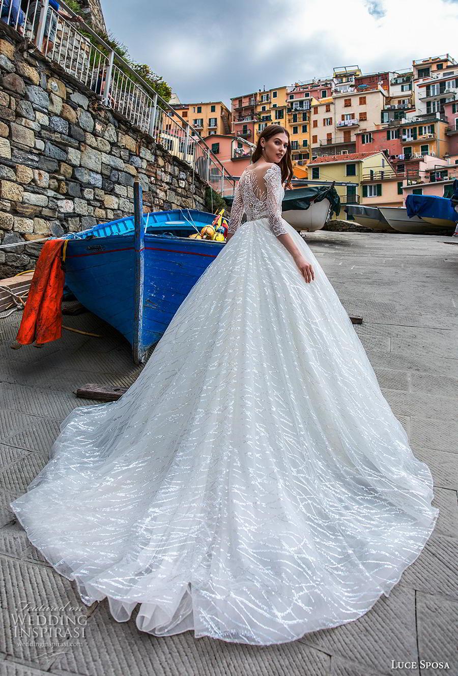 luce sposa 2019 bridal three quarter sleeves deep plunging sweetheart neckline full embellishment romantic a  line wedding dress lace back chapel train (10) bv