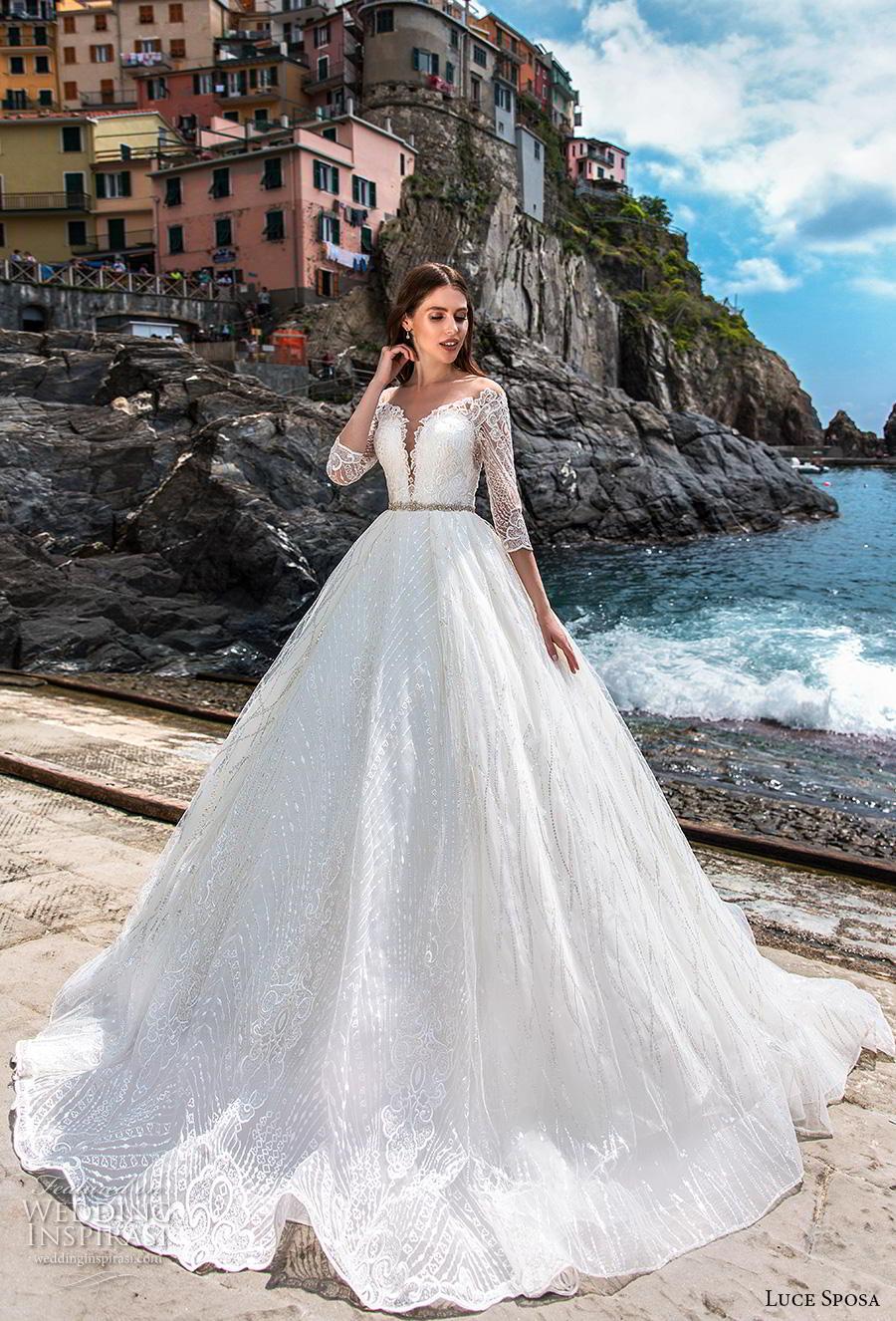 luce sposa 2019 bridal three quarter sleeves deep plunging sweetheart neckline full embellishment romantic a  line wedding dress lace back chapel train (10) mv