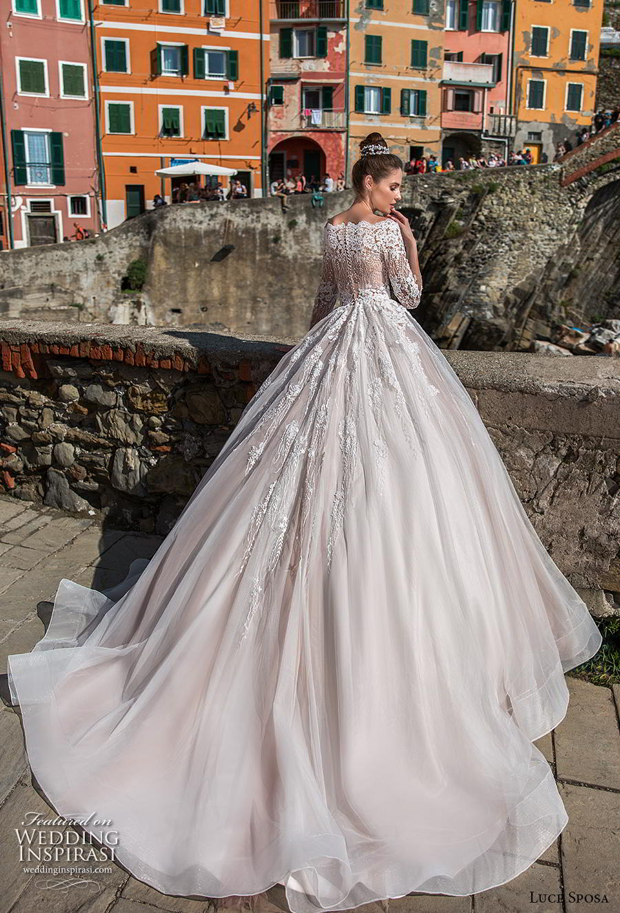 luce sposa 2019 bridal three quarter sleeves off the shoulder scallop straight across neckline romantic a  line wedding dress covered lace back chapel train (8) bv