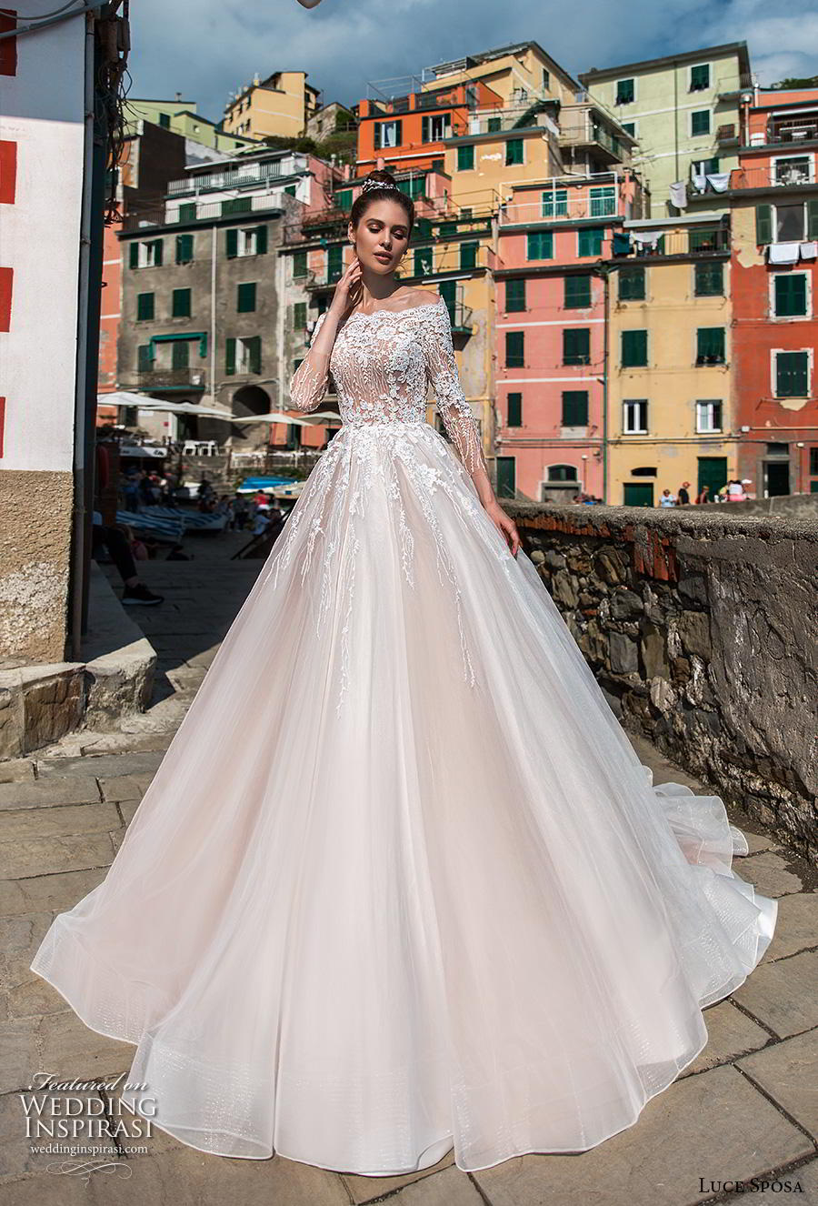 luce sposa 2019 bridal three quarter sleeves off the shoulder scallop straight across neckline romantic a  line wedding dress covered lace back chapel train (8) mv