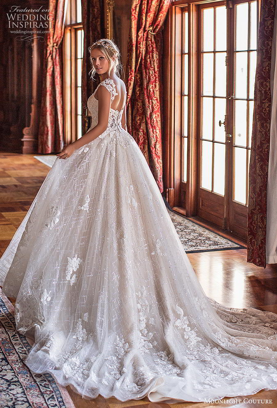 moonlight s2019 couture bridal cap sleeves sweetheart neckline heavily embellished bodice romantic ball gown a  line wedding dress mid back chapel train (1) bv