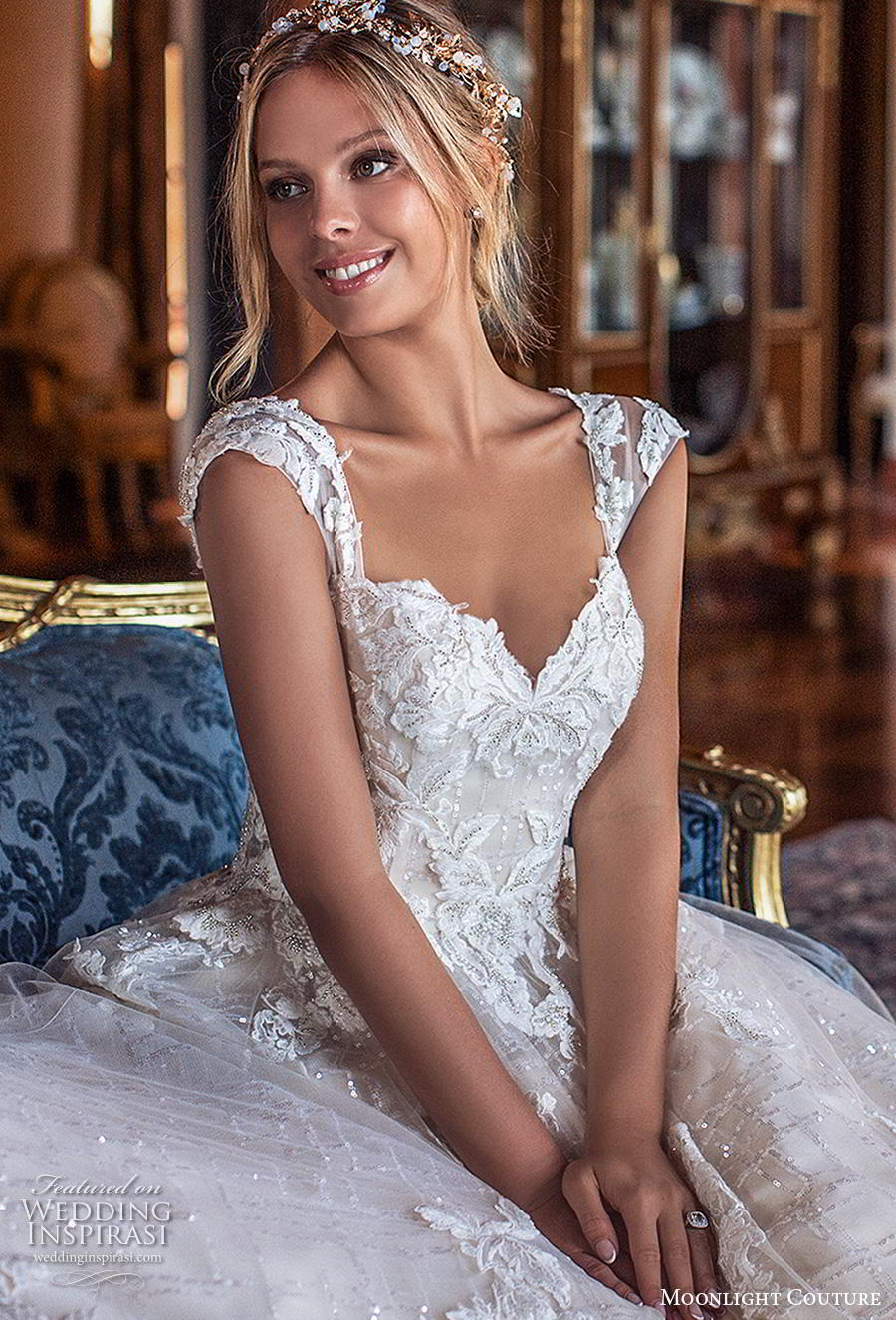 moonlight s2019 couture bridal cap sleeves sweetheart neckline heavily embellished bodice romantic ball gown a  line wedding dress mid back chapel train (1) zv