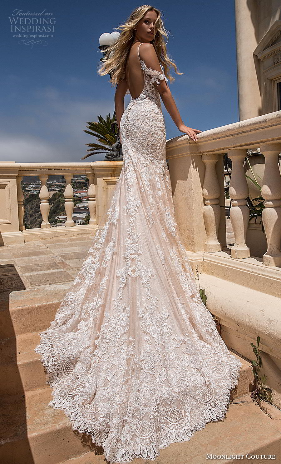moonlight s2019 couture bridal cold shoulder spaghetti strap sweetheart neckline full embellishment elegant fit and flare wedding dress backless low scoop back chapel train (4) bv