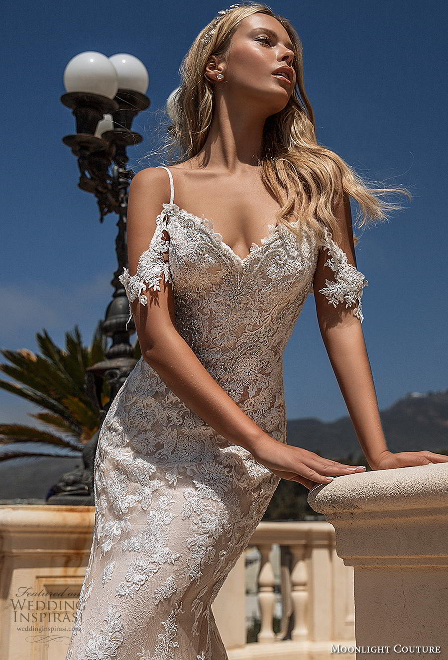 moonlight s2019 couture bridal cold shoulder spaghetti strap sweetheart neckline full embellishment elegant fit and flare wedding dress backless low scoop back chapel train (4) zv