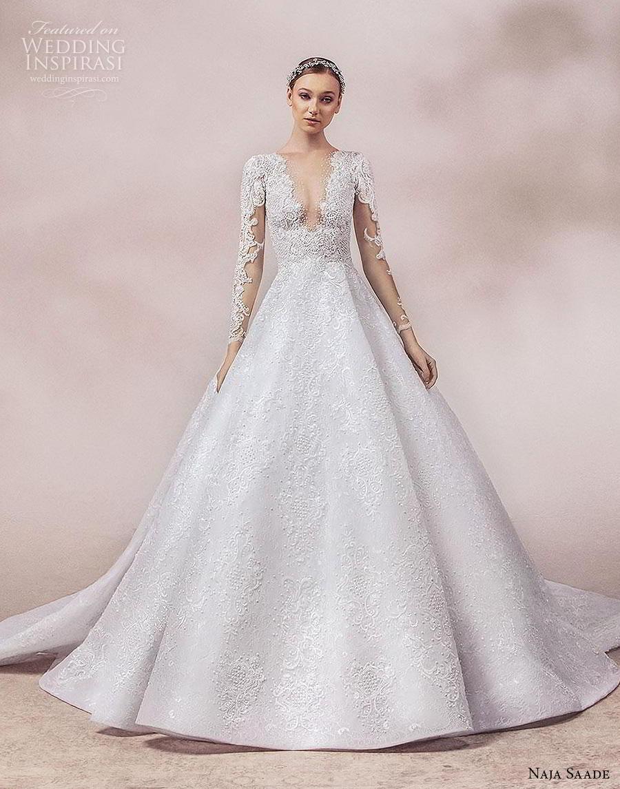 naja saade 2018 bridal long sleeves deep v neck full embellishment romantic elegant a  line wedding dress chapel train (13) mv