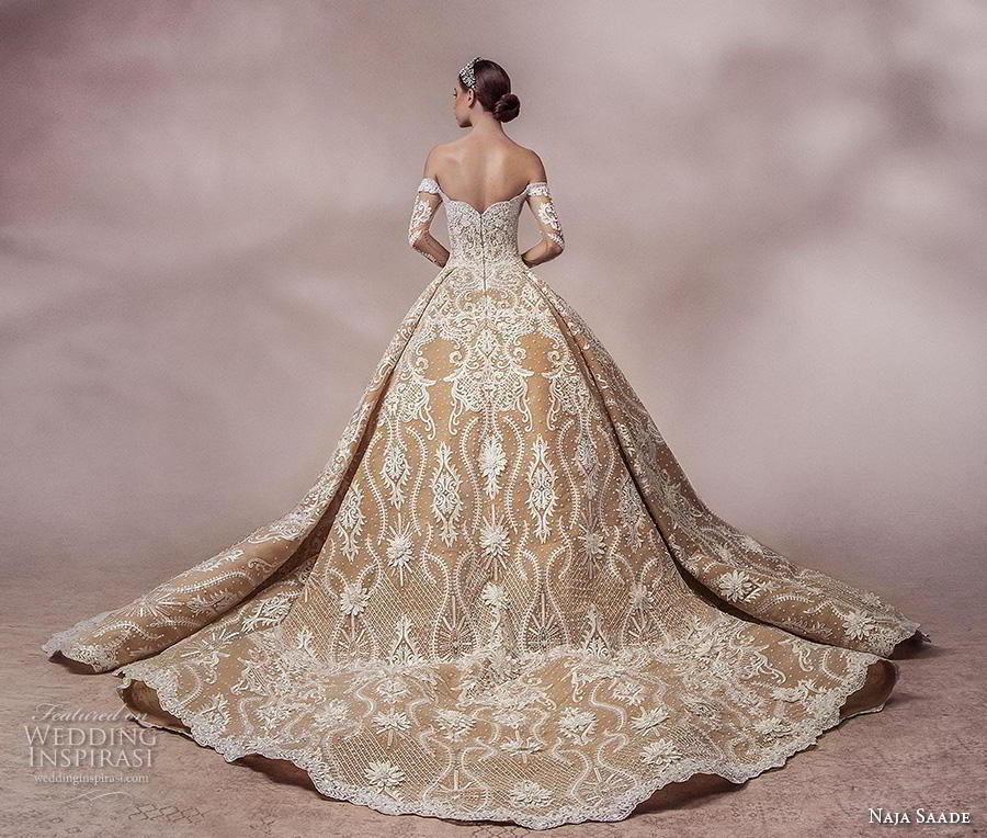 naja saade 2018 bridal long sleeves off the shoulder semi sweetheart neckline full embellishment princess gold ball gown a  line wedding dress mid back royal train (3) bv