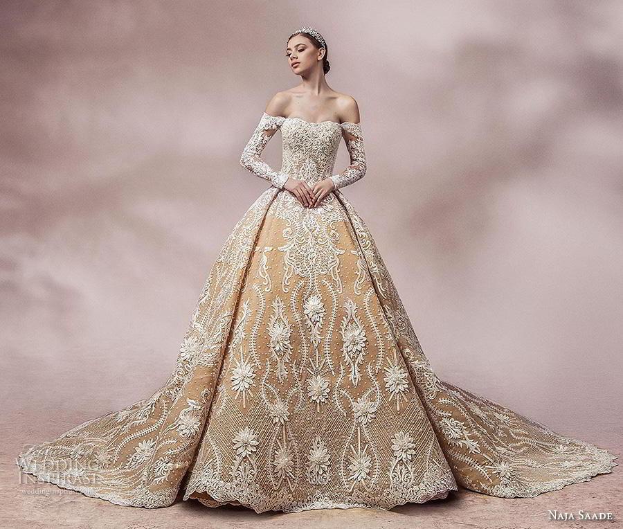 naja saade 2018 bridal long sleeves off the shoulder semi sweetheart neckline full embellishment princess gold ball gown a  line wedding dress mid back royal train (3) mv