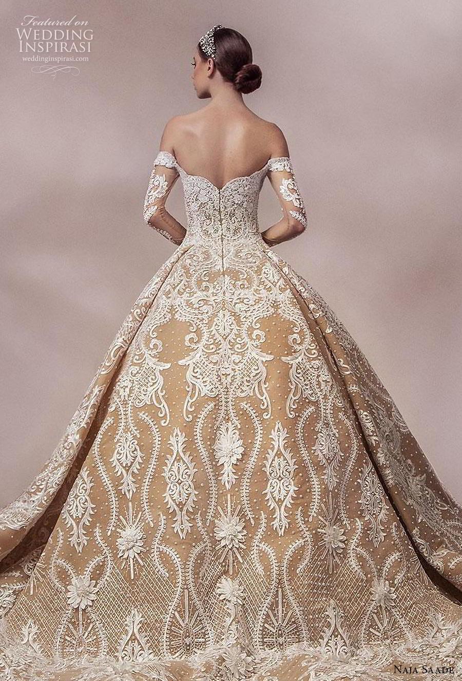naja saade 2018 bridal long sleeves off the shoulder semi sweetheart neckline full embellishment princess gold ball gown a  line wedding dress mid back royal train (3) zbv