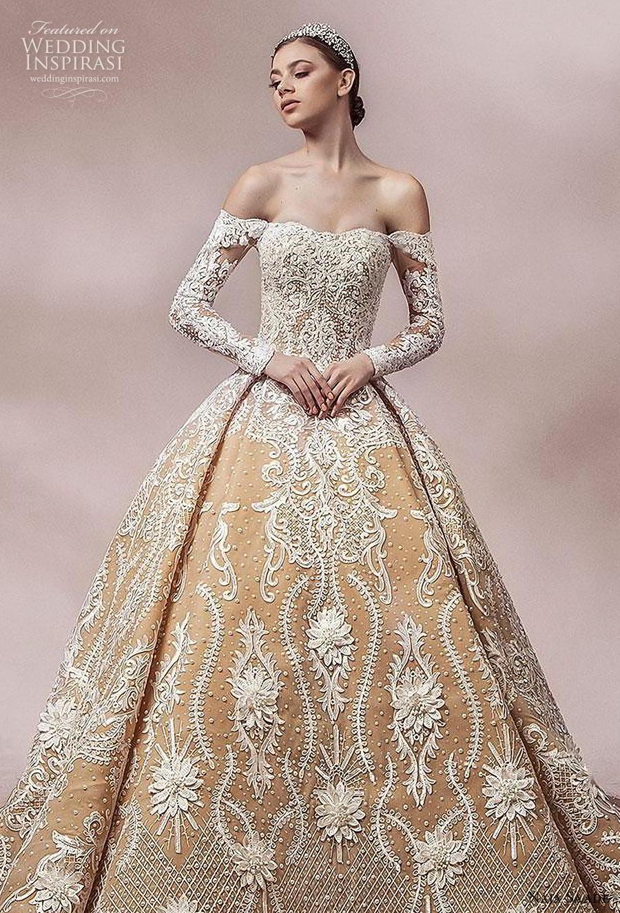naja saade 2018 bridal long sleeves off the shoulder semi sweetheart neckline full embellishment princess gold ball gown a  line wedding dress mid back royal train (3) zv