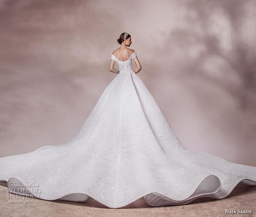 naja saade 2018 bridal off the shoulder deep plunging sweetheart neckline full embellishment princess ball gown a  line wedding dress scoop back royal train (2) bv