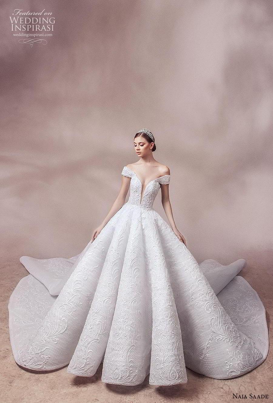 naja saade 2018 bridal off the shoulder deep plunging sweetheart neckline full embellishment princess ball gown a  line wedding dress scoop back royal train (2) mv