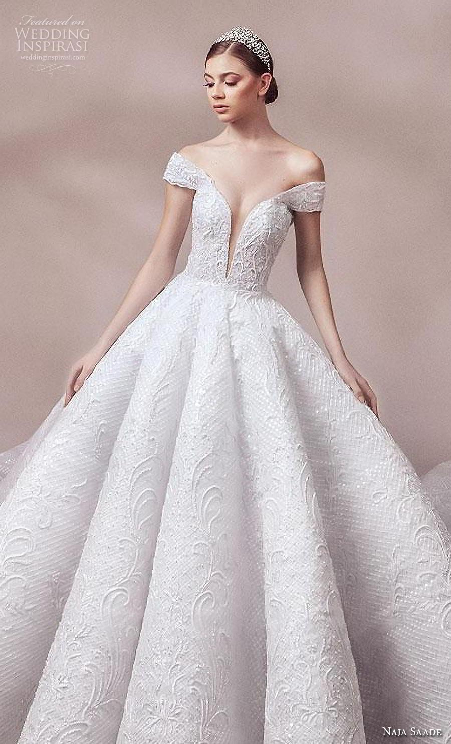 naja saade 2018 bridal off the shoulder deep plunging sweetheart neckline full embellishment princess ball gown a  line wedding dress scoop back royal train (2) zv