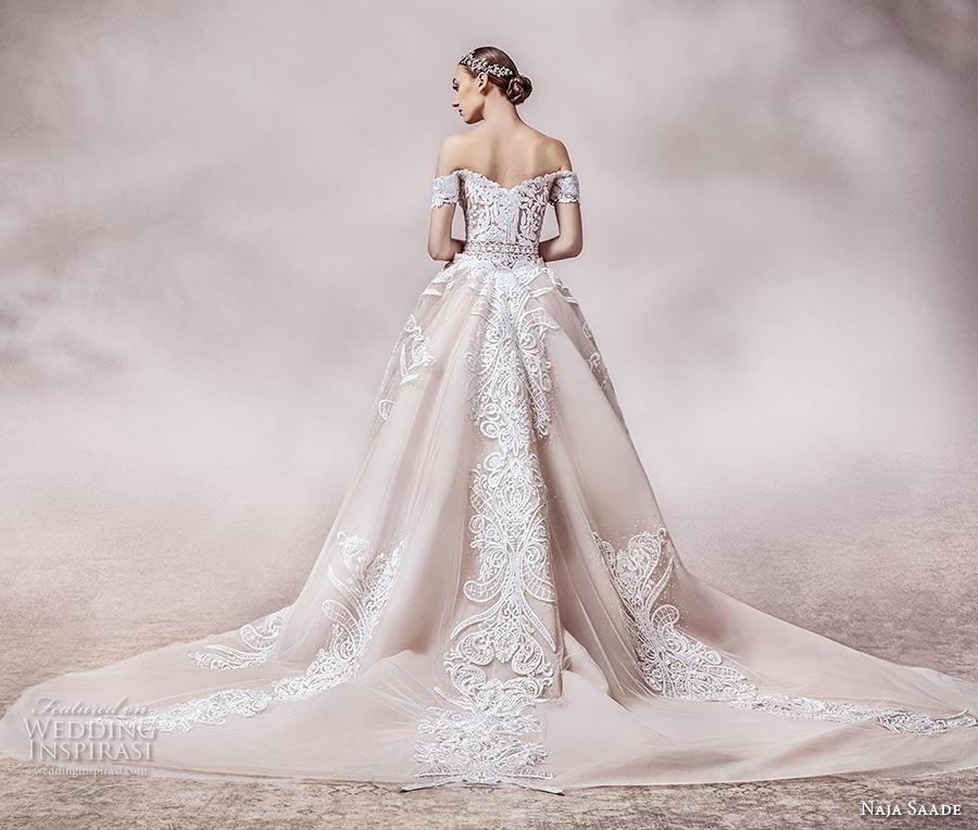 naja saade 2018 bridal off the shoulder semi sweetheart neckline full embellishment elegant glamorous sheath wedding dress a  line overskirt mid back royal train (1) bv