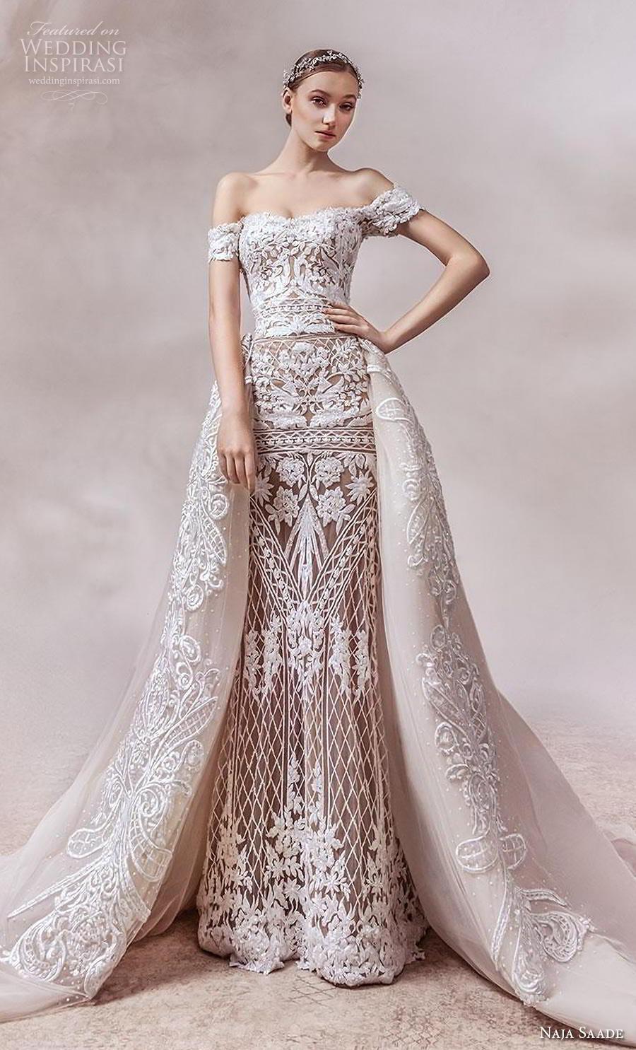 naja saade 2018 bridal off the shoulder semi sweetheart neckline full embellishment elegant glamorous sheath wedding dress a  line overskirt mid back royal train (1) mv