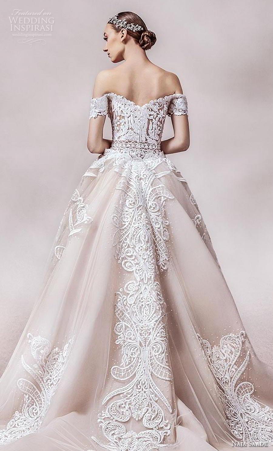 naja saade 2018 bridal off the shoulder semi sweetheart neckline full embellishment elegant glamorous sheath wedding dress a  line overskirt mid back royal train (1) zbv