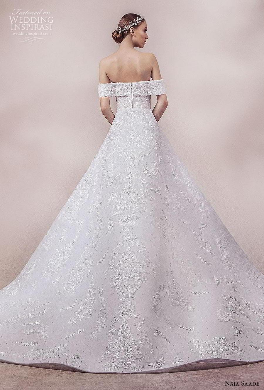naja saade 2018 bridal off the shoulder sweetheart neckline full embellishment glamorous mermaid wedding dress a  line overskirt mid back chapel train (11) bv