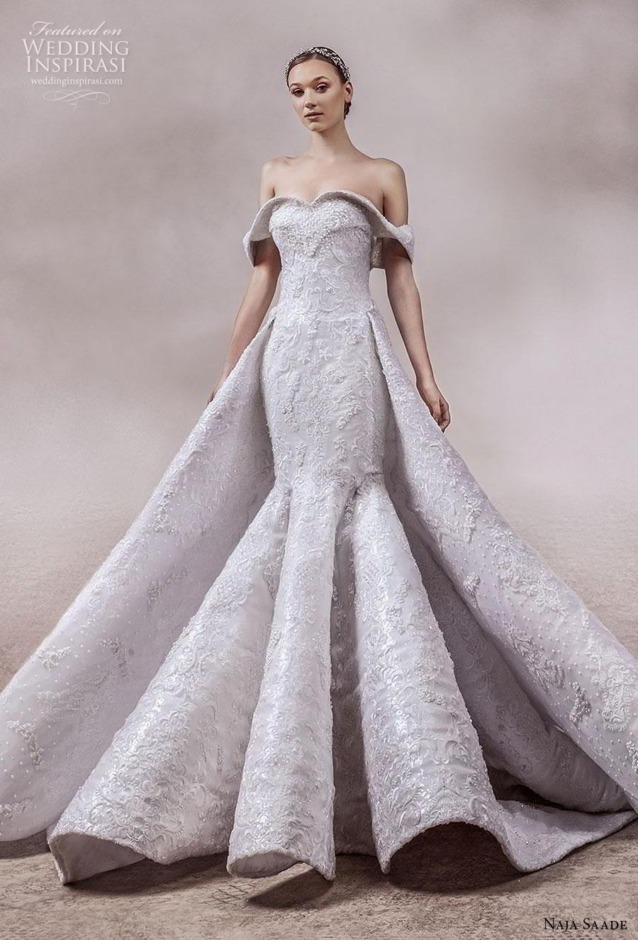 naja saade 2018 bridal off the shoulder sweetheart neckline full embellishment glamorous mermaid wedding dress a  line overskirt mid back chapel train (11) mv