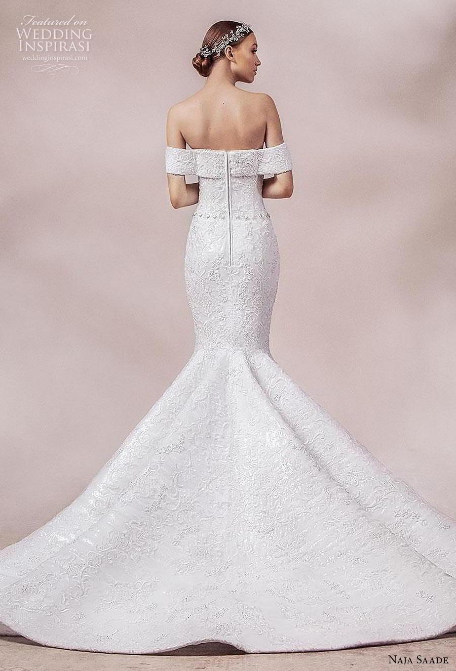 naja saade 2018 bridal off the shoulder sweetheart neckline full embellishment glamorous mermaid wedding dress mid back chapel train (11) bv