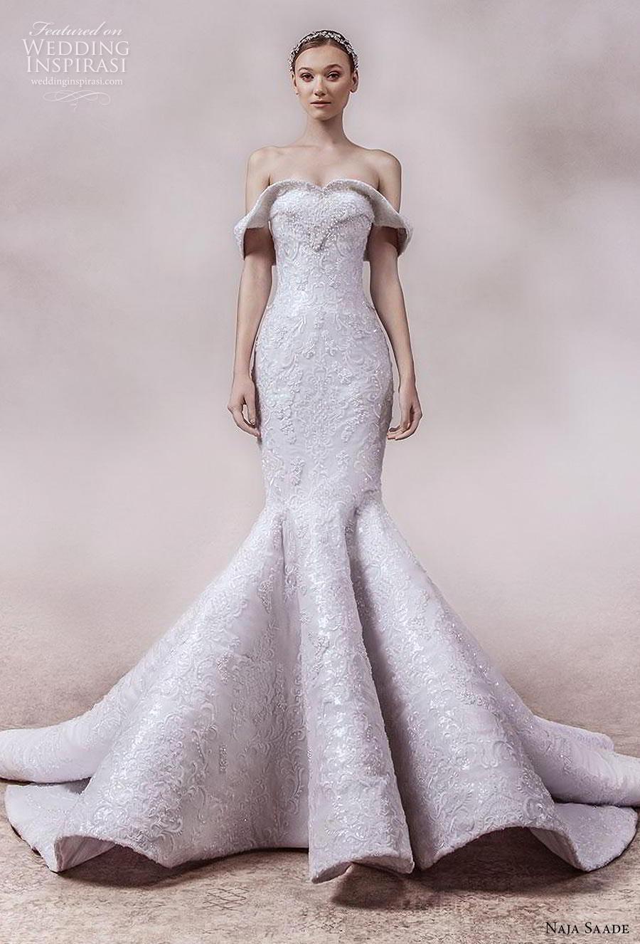 naja saade 2018 bridal off the shoulder sweetheart neckline full embellishment glamorous mermaid wedding dress mid back chapel train (11) mv